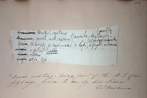 A picture of an original Burns work, a note to himself